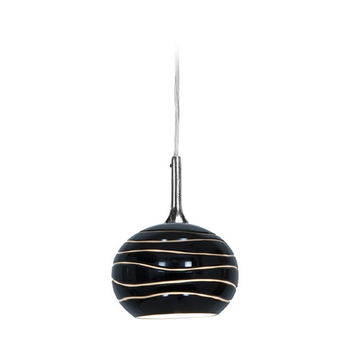 Access Lighting Access Lighting Delta Brushed Steel Mini-Pendant Light with Bowl / Dome Shade 97979-BS/BLKLN