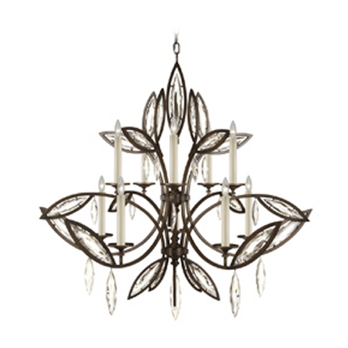 Fine Art Lamps Fine Art Lamps Marquise Antique Hand Rubbed Bronze Crystal Chandelier 844140-32ST