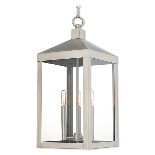 Livex Lighting Livex Lighting Nyack Brushed Nickel Outdoor Hanging Light 20587-91