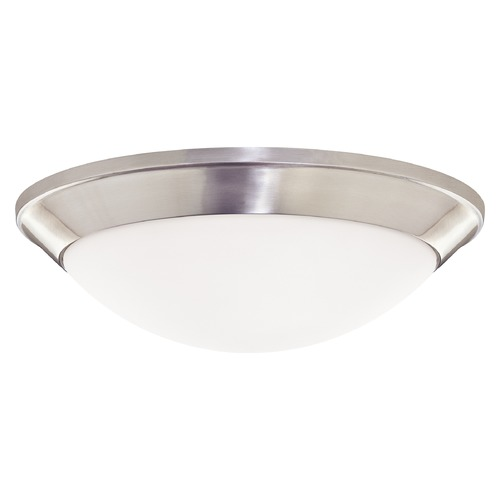 Dolan Designs Lighting Modern Flushmount Light with White Glass in Satin Nickel Finish 5402-09