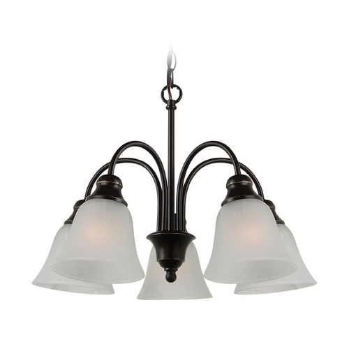 Sea Gull Lighting Mini-Chandelier with Alabaster Glass in Heirloom Bronze Finish 35950-782