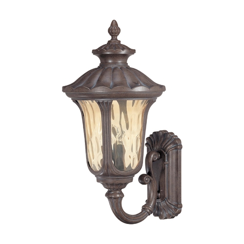 Nuvo Lighting Outdoor Wall Light with Amber Glass in Fruitwood Finish 60/2001