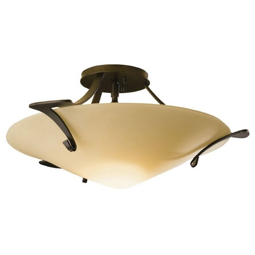 Hubbardton Forge Lighting Modern Semi-Flushmount Light with White Glass in Bronze Finish 124710-05-S243