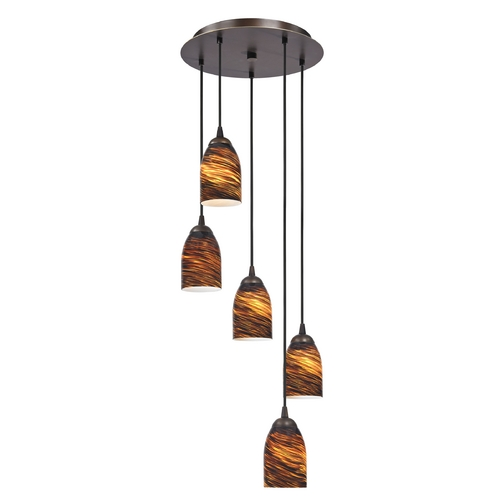 Design Classics Lighting Modern Multi-Light Pendant Light with Brown Art Glass and 5-Lights 580-220 GL1023D