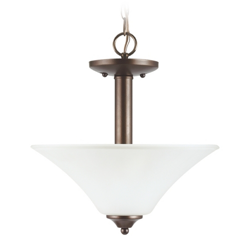 Sea Gull Lighting Pendant Light with White Glass in Bell Metal Bronze Finish 77806-827