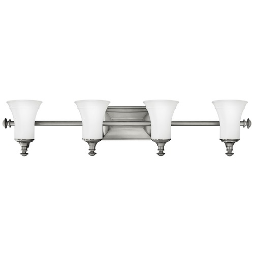Hinkley Lighting Bathroom Light with White Glass in Antique Nickel Finish 5834AN