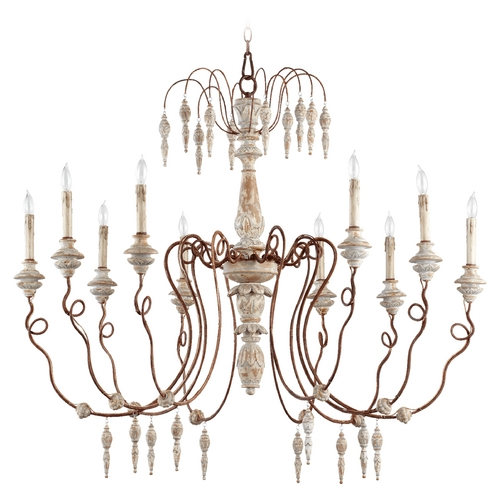 Quorum Lighting Quorum Lighting La Maison Manchester Grey with Rust Accents Chandelier 6352-10-56