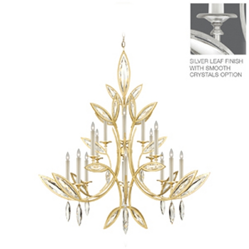 Fine Art Lamps Fine Art Lamps Marquise Platinized Silver Leaf Crystal Chandelier 844240-11ST