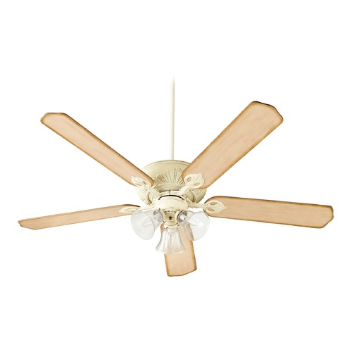 Quorum Lighting Seeded Glass Ceiling Fan with Light White Quorum Lighting 78605-1970