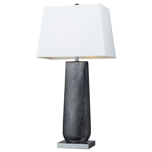Elk Lighting Table Lamp with White Shade in Black Pearl / Chrome Finish D2237
