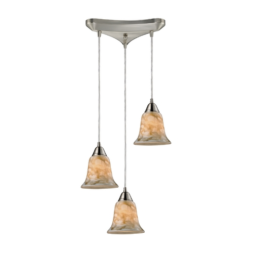 Elk Lighting Modern Multi-Light Pendant Light with Multi-Color Glass and 3-Lights 31130/3NG