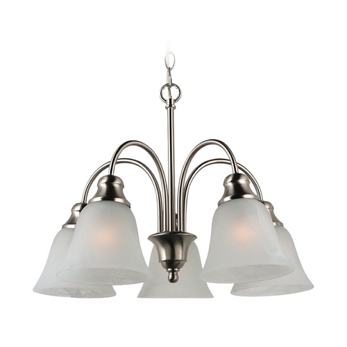 Sea Gull Lighting Mini-Chandelier with Alabaster Glass in Brushed Nickel Finish 35950-962