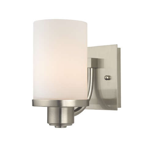 Design Classics Lighting Modern Sconce Wall Light with White Glass in Satin Nickel Finish 589-09 GL1028C
