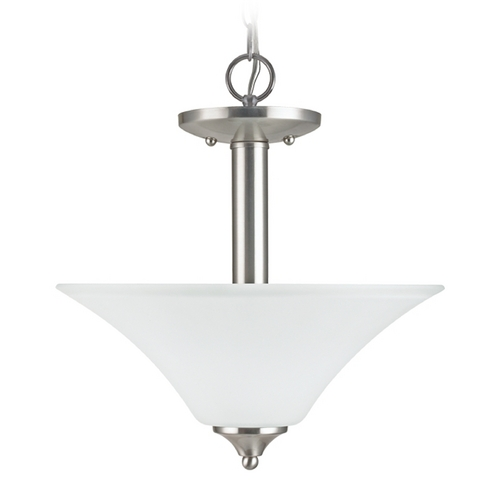 Sea Gull Lighting Pendant Light with White Glass in Brushed Nickel Finish 77806-962