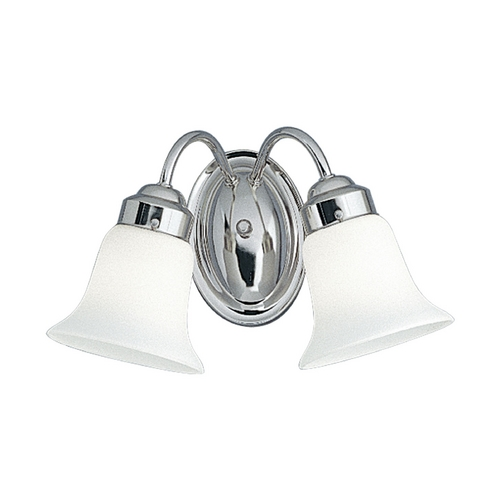 Progress Lighting Progress Bathroom Light with White Glass in Chrome Finish P3374-15
