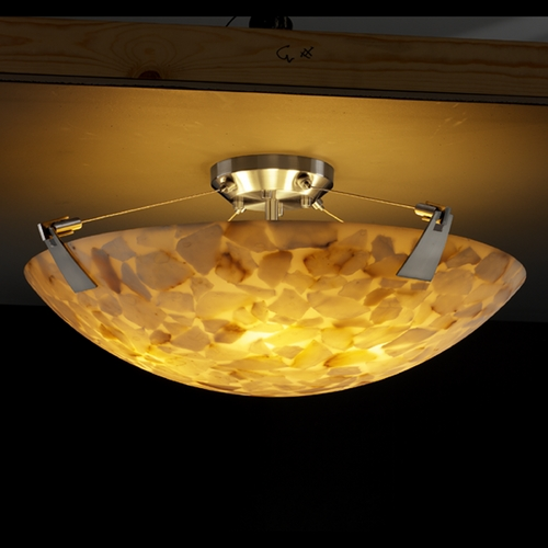 Justice Design Group Justice Design Group Alabaster Rocks! Collection Semi-Flushmount Light ALR-9634-35-NCKL