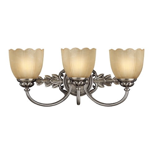 Hinkley Lighting Bathroom Light with Beige / Cream Glass in Polished Antique Nickel Finish 5393PL