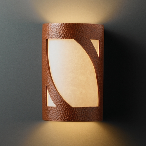 Justice Design Group Sconce Wall Light with White in Hammered Copper Finish CER-7335-HMCP