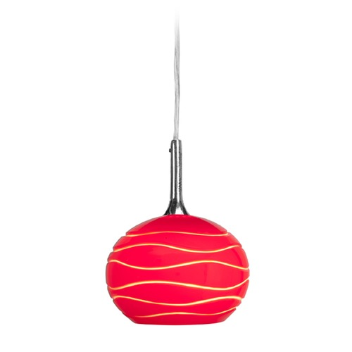 Access Lighting Access Lighting Delta Brushed Steel Mini-Pendant Light with Bowl / Dome Shade 97979-BS/REDLN