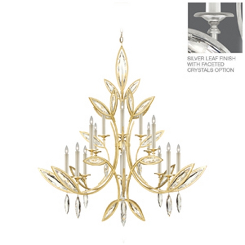 Fine Art Lamps Fine Art Lamps Marquise Platinized Silver Leaf Crystal Chandelier 844240-12ST