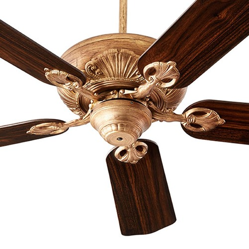 Lighting Le Monde Vintage Gold Leaf Ceiling Fan Without