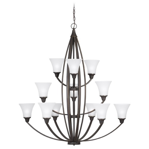 Sea Gull Lighting Metcalf Autumn Bronze 12 Light 3-Tier Chandelier with Tapered Satin Etched Glass 3113212-715
