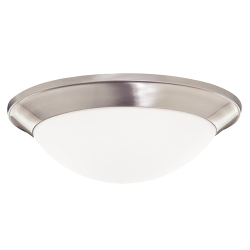 Dolan Designs Lighting Modern Flushmount Light with White Glass in Satin Nickel Finish 5403-09