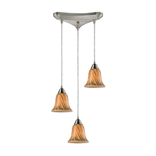 Elk Lighting Modern Multi-Light Pendant Light with Multi-Color Glass and 3-Lights 31130/3TF