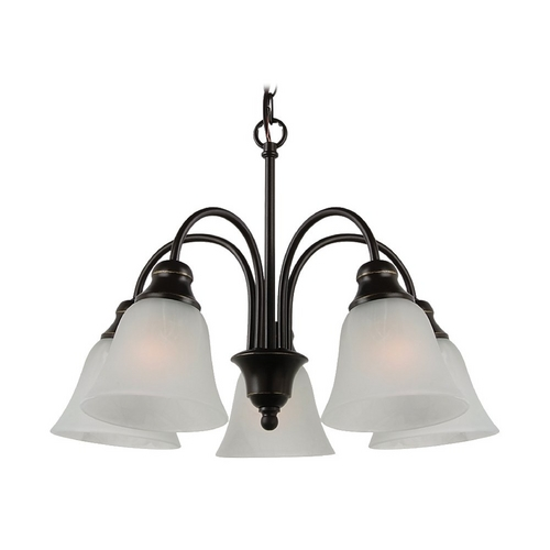 Sea Gull Lighting Mini-Chandelier with Alabaster Glass in Heirloom Bronze Finish 35950BLE-782