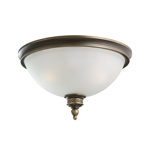 Sea Gull Lighting Flushmount Light with White Glass in Estate Bronze Finish 75350-708