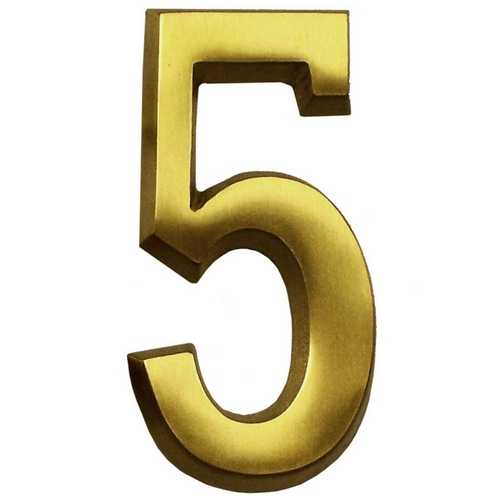 Satin Brass Four Inch House Number Gm Cb5
