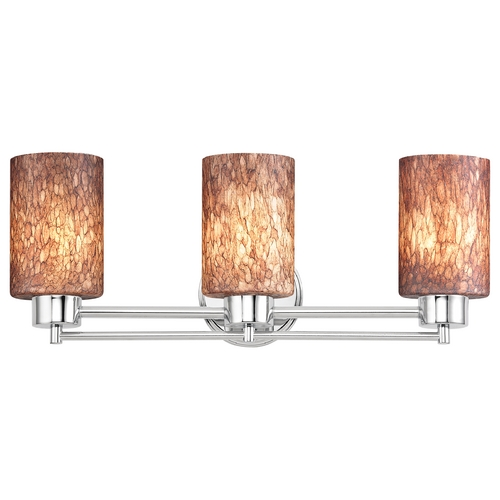 Design Classics Lighting Modern Bathroom Light with Brown Art Glass in Chrome Finish 703-26 GL1016C