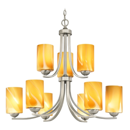 Design Classics Lighting Modern Chandelier with Butterscotch Art Glass in Satin Nickel Finish 586-09 GL1022C