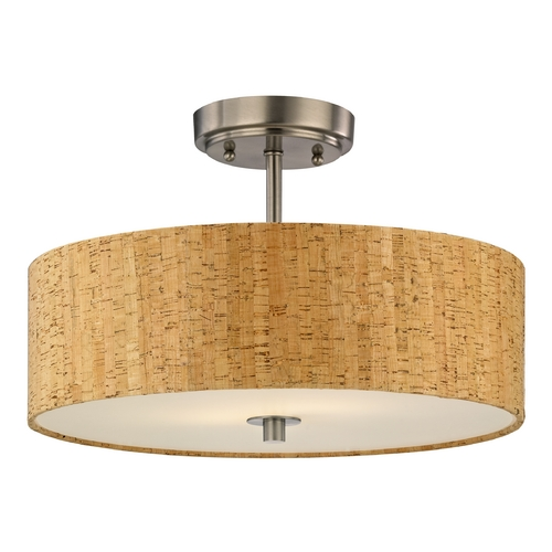 Design Classics Lighting Cork Drum Ceiling Light in Satin Nickel Finish - 16-Inches Wide DCL 6543-09 SH9472
