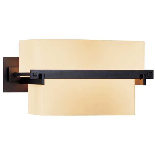 Hubbardton Forge Lighting Sconce Wall Light with Beige / Cream Glass in Dark Smoke Finish 207821-07-H105