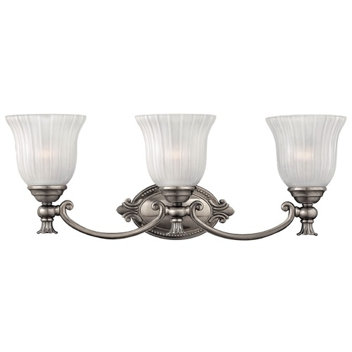Hinkley Lighting Bathroom Light with White Glass in Polished Antique Nickel Finish 5583PL