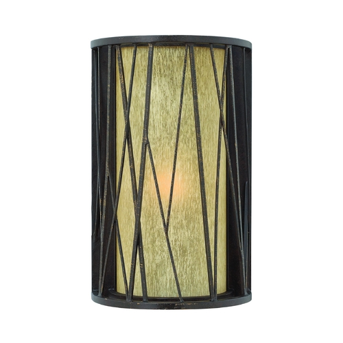 Hinkley Lighting Outdoor Wall Light with Amber Glass in Regency Bronze Finish 1154RB