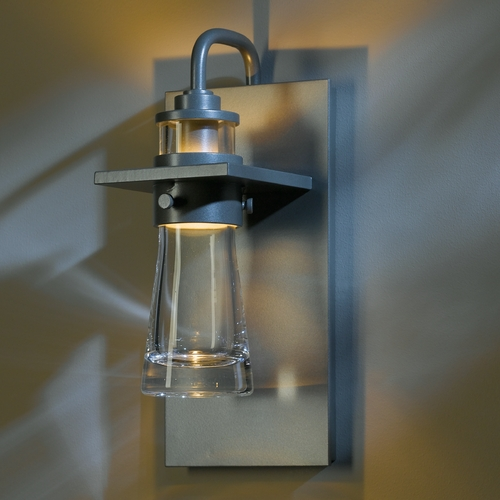Hubbardton Forge Lighting Hubbardton Forge Lighting Erlenmeyer Burnished Steel Outdoor Wall Light 307715-08-CTO