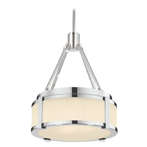 Sonneman Lighting Sonneman Lighting Roxy Satin Nickel Pendant Light with Drum Shade 4358.13