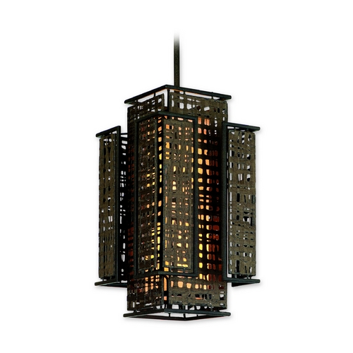 Corbett Lighting Corbett Lighting Shoji Bonsai Bronze Island Light with Rectangle Shade 105-42