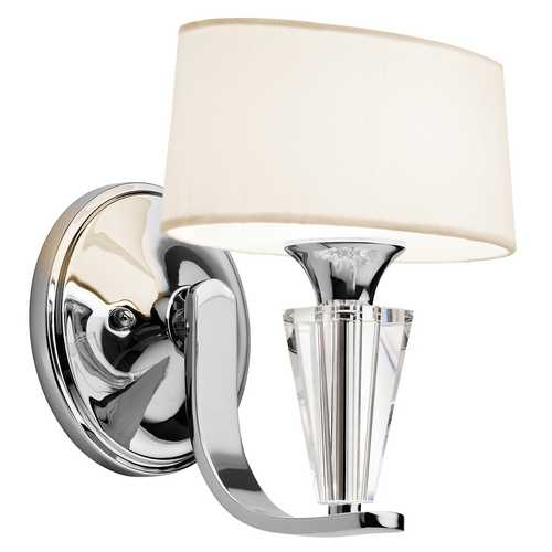 Kichler Lighting Kichler Modern Sconce Wall Light with White Shade in Chrome Finish 42028CH