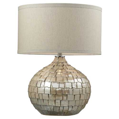 Elk Lighting Modern Table Lamp with Beige / Cream Shade in Cream Pearl Finish D2264