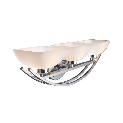 Elk Lighting Modern Bathroom Light with White Glass in Polished Chrome Finish 10032/3