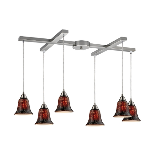 Elk Lighting Modern Multi-Light Pendant Light with Multi-Color Glass and 6-Lights 31130/6FDG