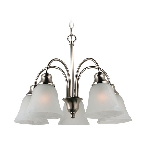 Sea Gull Lighting Sea Gull Lighting 5-Light Mini Chandelier with Alabaster Glass in Brushed Nickel 35950BLE-962