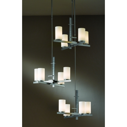 Hubbardton Forge Lighting Iron Pendant Light with Three Tiers and 12 Lights 136315-05-G168