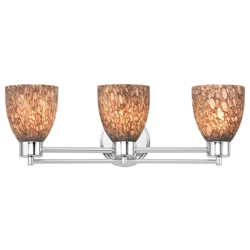 Design Classics Lighting Modern Bathroom Light with Brown Art Glass in Chrome Finish 703-26 GL1016MB