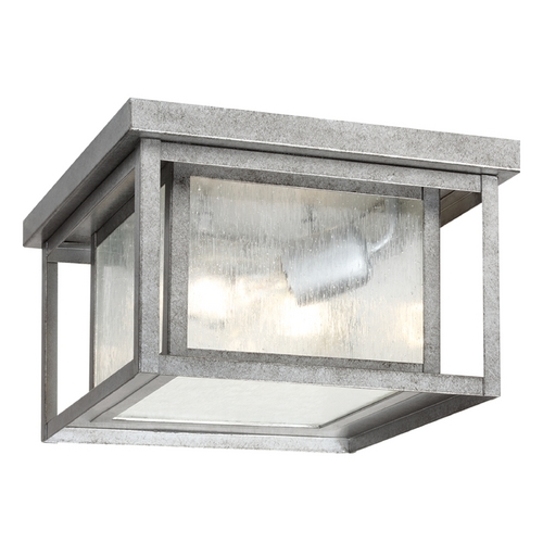 Sea Gull Lighting Close To Ceiling Light with Clear Glass in Weathered Pewter Finish 78027-57