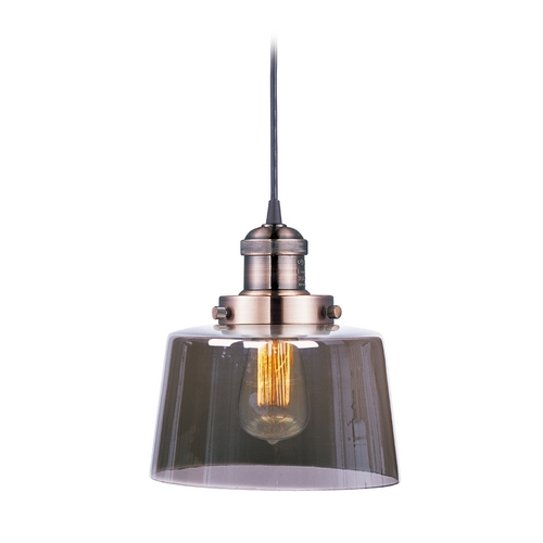 Maxim Lighting Maxim Lighting Mini Hi-Bay Antique Copper Mini-Pendant Light with Drum Shade 25029MSKACP
