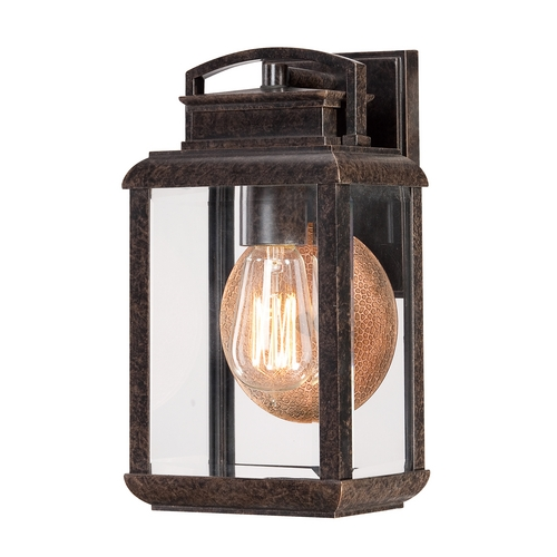 Quoizel Lighting Outdoor Wall Light with Clear Glass in Imperial Bronze Finish BRN8406IB